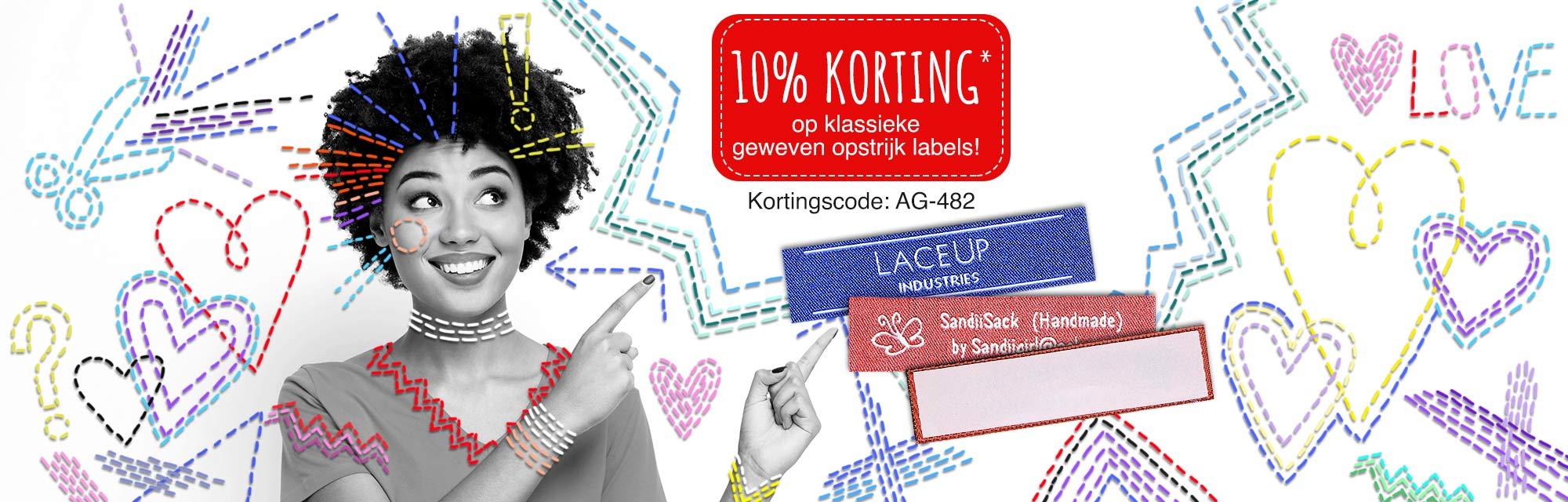 10% korting op onze klassieke geweven opstrijk of innaai labels!
